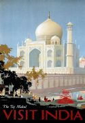 The Taj Mahal Visit India Vintage Travel Poster